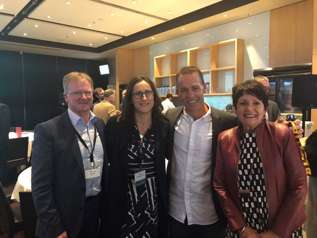 Ai Group staff – Tim Piper, Jennifer Thompson and Julie Gerrard – with Alastair Clarkson (2nd from right) at the ConTech2018 dinner