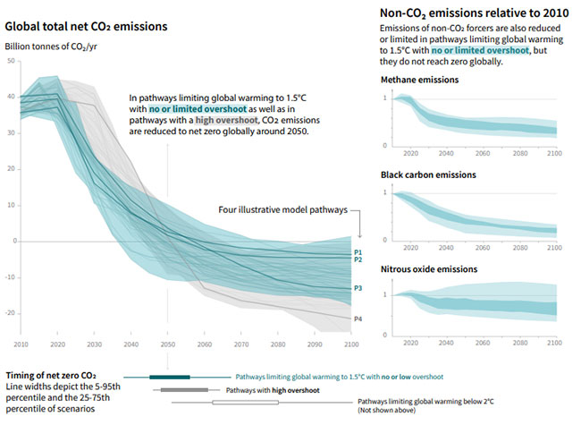 Figure 2 – IPCC chart of modelled emissions pathways capable of limiting temperature increases to 1.5C