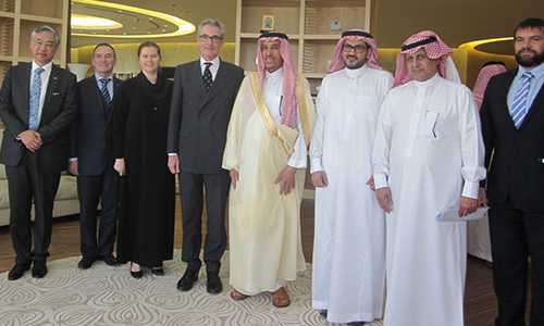 The Ai Group/ASBC Delegation meeting with the Royal Commission of Jubail and Yanbu; the gentleman in the gold robe is His Highness Prince Saud Bin Abdullah Bin Thunyan AL Saud, the Chairman of the Royal Commission