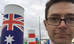 Ai Group's Tennant Reed, pictured in the Flag Courtyard at COP21 in Paris